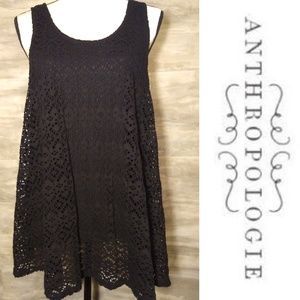 Anthropologie Deletta Black Eyelet Tank Size Large
